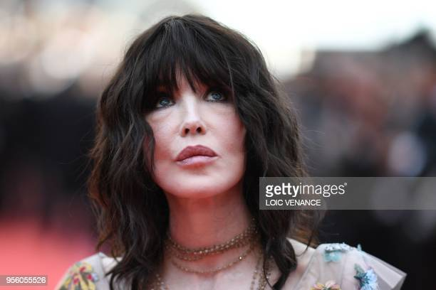 French actress Isabelle Adjani poses as she arrives on May 8 2018 for the screening of the film Todos Lo Saben and the opening ceremony of the 71st...