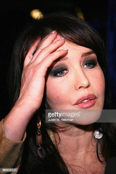 French actress Isabelle Adjani poses with her Globe de Cristal after being awarded at Le Lido on February 8 2010 in Paris France