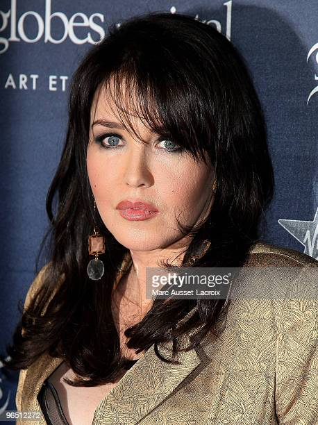 French actress Isabelle Adjani poses with her Globe de Cristal after being awarded at Le Lido on February 8, 2010 in Paris, France.