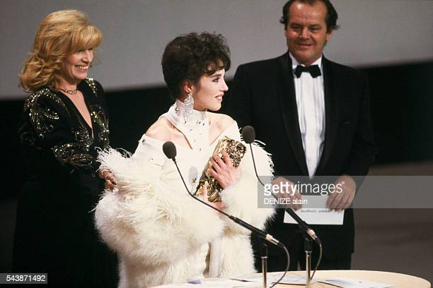 French actress Isabelle Adjani receives the Best Actress award at the 1984 Cesar ceremony for her interpretation in the film L'Eté Meurtrier She was...