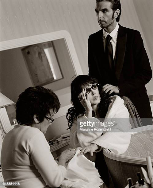 French actress Isabelle Adjani with hairdresser John Nollet during the 56th Cannes Film Festival 16th May 2003