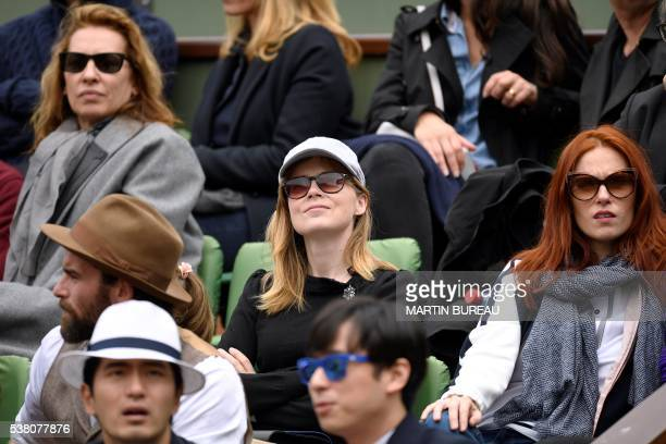 French actress Isabelle Carre and French actress Audrey Fleurot attend the women's final match between US player Serena Williams and Spain's Garbine...