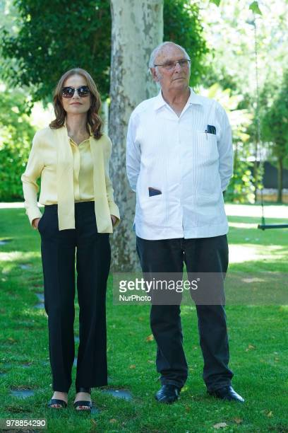 French actress Isabelle Huppert and Carlos Saura attends the Prix Diálogo 2018 awards in Madrid Spain June 19 2018