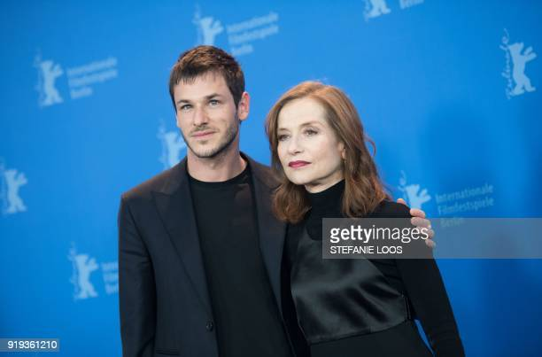 TOPSHOT French actress Isabelle Huppert and French actor and model Gaspard Ulliel pose during a photocall for the film 'Eva' presented in competition...
