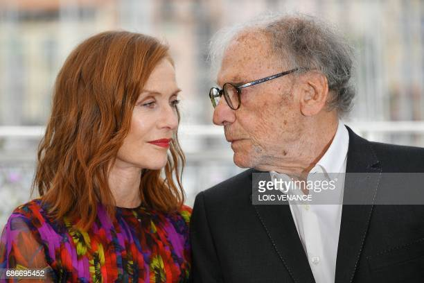 TOPSHOT French actress Isabelle Huppert and French actor JeanLouis Trintignant pose on May 22 2017 during a photocall for the film 'Happy End' at the...