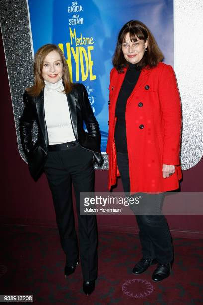 French actress Isabelle Huppert and Patricia Barzyk attend 'Madame Hyde' Paris Premiere at Gaumont Opera Capucines on March 27 2018 in Paris France
