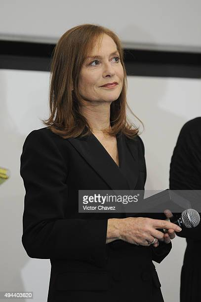 French actress Isabelle Huppert attends the Morelia International Film Festival on October 26 2015 in Morelia Mexico