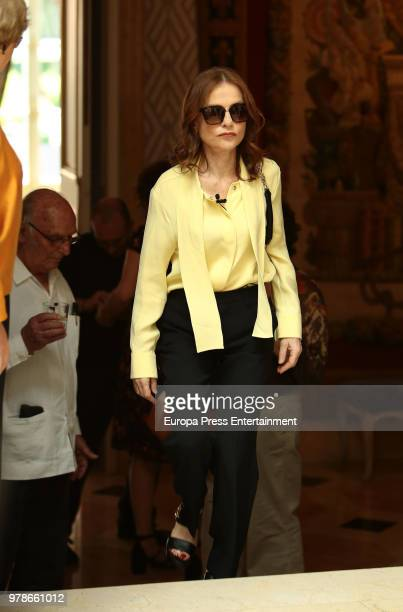 French actress Isabelle Huppert attends the press conference of the l Prix Dialogo 2018 For SpanishFrench Friendship at French embassy on June 19...