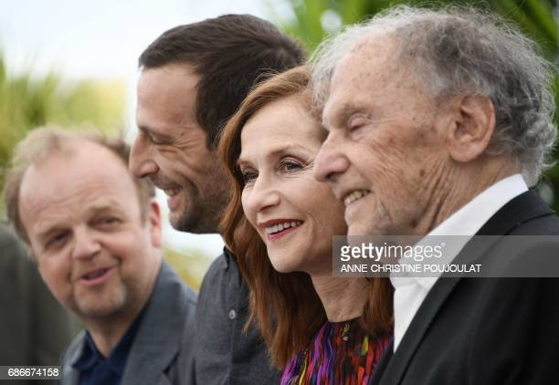 French actress Isabelle Huppert poses on May 22 2017 with French actor JeanLouis Trintignant French actor Mathieu Kassovitz and British actor Toby...