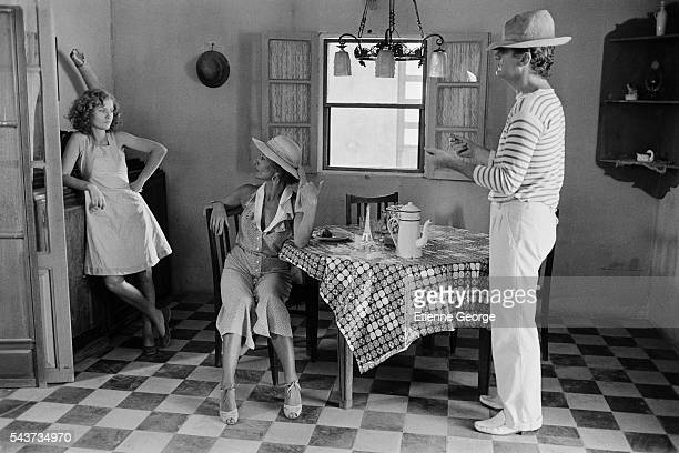 French actress Isabelle Huppert Stephane Audran and Eddy Mitchell on the set of Coup de Torchon written and directed by Bertrand Tavernier | Location...