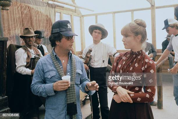 French actress Isabelle Huppert with American director and screenwriter Michael Cimino on the set of his movie Heaven's Gate