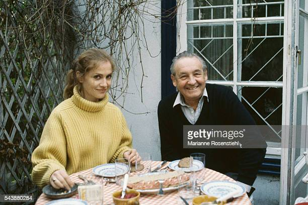 French actress Isabelle Huppert with Polish director and screenwriter Andrzej Wajda in Warsaw on the set of his movie Les Possedes