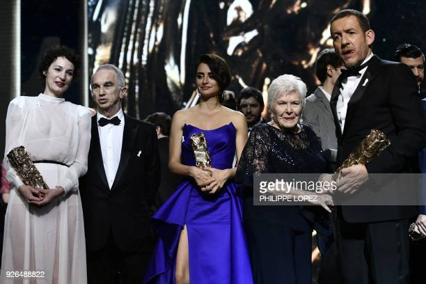 French actress Jeanne Balibar with her Best Actress award, French-Armenian film producer Alain Terzian, Spanish actress Penelope Cruz with her Honour...