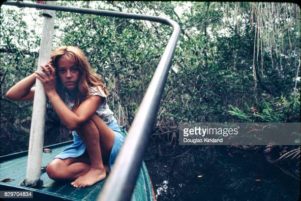 French actress Jeanne Moreau on a boat in Cuernavaca Mexico 1965
