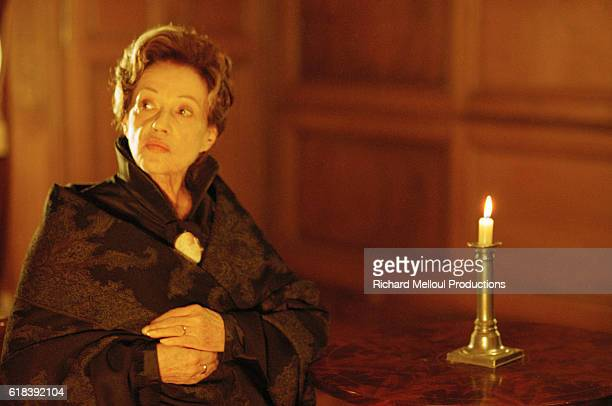French actress Jeanne Moreau on the film set of Balzac
