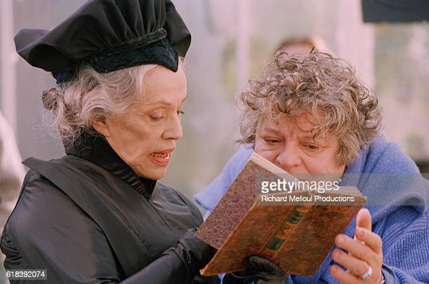 French actress Jeanne Moreau on the film set of Balzac with director Josee Dayan