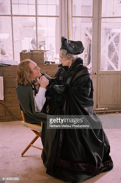 French actress Jeanne Moreau on the film set of Balzac with French actor Gerard Depardieu
