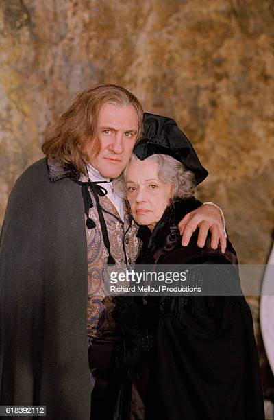 French actress Jeanne Moreau on the film set of Balzac with French actor Gerard Depardieu.
