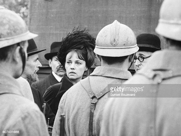 French actress Jeanne Moreau on the set of Mata Hari Agent H21 written and directed by JeanLouis Richard