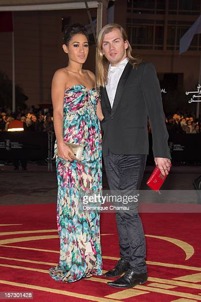 French actress Josephine Jobert and French fashion designer Christophe Guillarme arrive for the tribute to Hindi cinema at the 12th Marrakech...