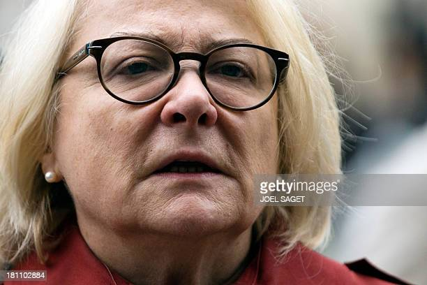 French actress Josiane Balasko arrives at the Saint-Sulpice church to attend the funeral ceremony of French geneticist and philosopher Albert...