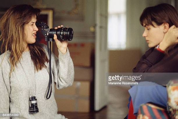 French actress Judith Godrèche and actress and director Sophie Marceau on the set of her first short movie 'L'aube à l'envers'