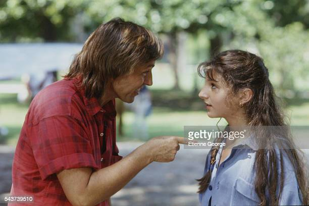 French actress Julia Maraval directed by French director Alexandre Arcady on the set of his film Dis-moi oui... .