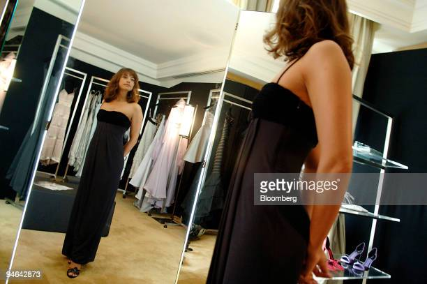 French actress Julie Bataille fitting Giorgio Armani Haute Couture evening gowns for the premier of the film Paris Je T'Aime during the Film Festival...