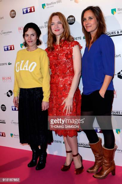 French actress Julie de Bona, French film director Leonor Serraille and French actress Odile Vuillemin pose as they arrive to attend the 25th...