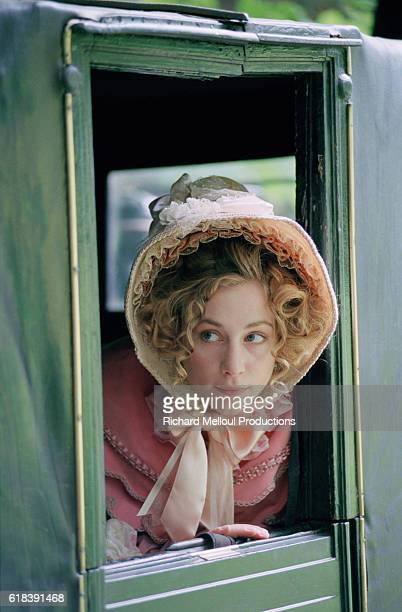 French actress Julie Depardieu on the set of TV film Le Comte de Monte Cristo