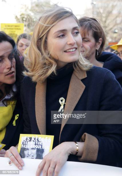 French actress Julie Gayet takes part in a rally organised as part of the 4th edition of the Worldwide Endometriosis March to help raise awareness of...