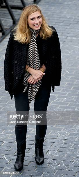 French actress Julie Gayet wearing a Jaeger LeCoultre watch attends the 'La Voz en Off' photocall at the Kursaal Palace during the 62nd San Sebastian...