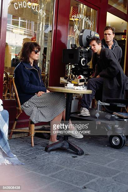 French actress Juliette Binoche and director Leox Carax on the set of the Carax's film Les Amants du Pont Neuf