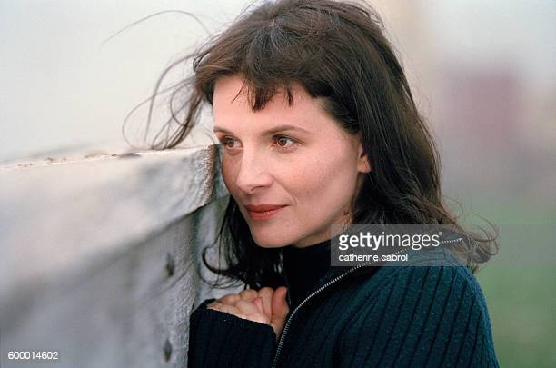 French actress Juliette Binoche during the filming of the Patrice Leconte movie La Veuve de SaintPierre