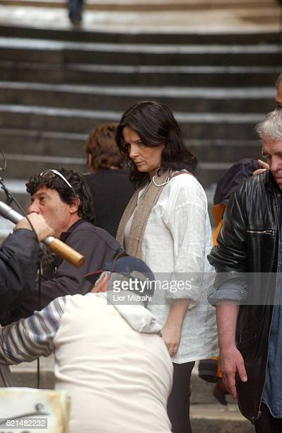 French actress Juliette Binoche is seen during a shooting of her new film in the old city of Jerusalem Thursday Feb 24 2005 Binoche arrived in Israel...