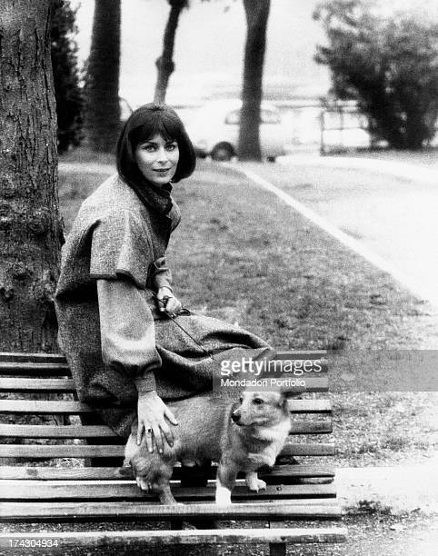 French actress Juliette Mayniel sitting on a bench with a Welsh Corgi dog on the leash Rome 1970s