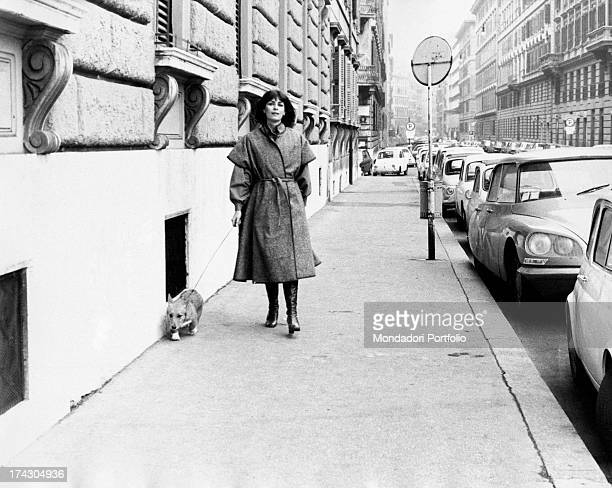 French actress Juliette Mayniel walking with a Welsh Corgi dog on the leash Rome 1970s