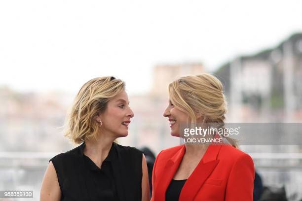 """French actress Karin Viard and French actress and film director Andrea Bescond pose on May 14, 2018 during a photocall for the film """"Little Tickles """"..."""