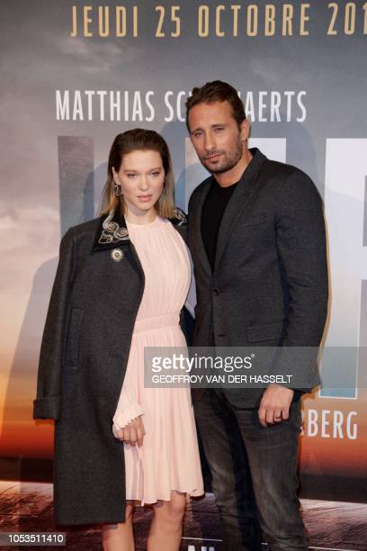 French actress Lea Seydoux and Belgian actor Matthias Schoenaerts pose on the red carpet prior to the premiere of the movie 'Kursk' at La Cite Du...