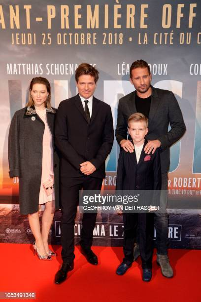 French actress Lea Seydoux Danish film director Thomas Vinterberg and Belgian actor Matthias Schoenaerts pose on the red carpet prior to the premiere...