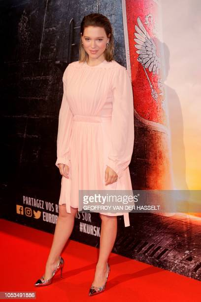 French actress Lea Seydoux poses on the red carpet prior to the premiere of the movie 'Kursk' at La Cite Du Cinema on October 25 2018 in SaintDenis