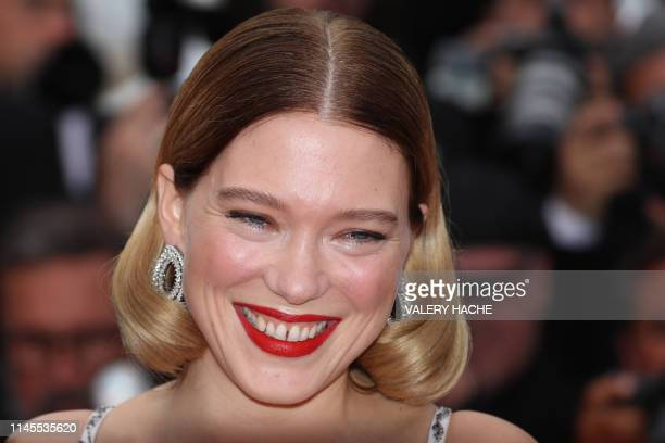 French actress Lea Seydoux smiles as she arrives for the screening of the film Oh Mercy at the 72nd edition of the Cannes Film Festival in Cannes...