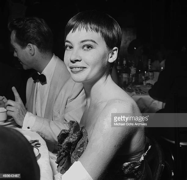 """French actress Leslie Caron attends the movie premier """" The Egyptian"""" in Los Angeles, California."""