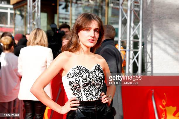 French actress Lola Bessis poses on the red carpet upon arrival for the premiere of the series 'Picnic at Hanging Rock' presented in the section...