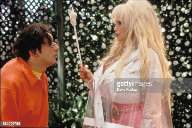 French actress Lolo Ferrari with director and actor Patrick Timsit on the set of his movie Quasimodo d'El Paris based on the novel Notre Dame de...