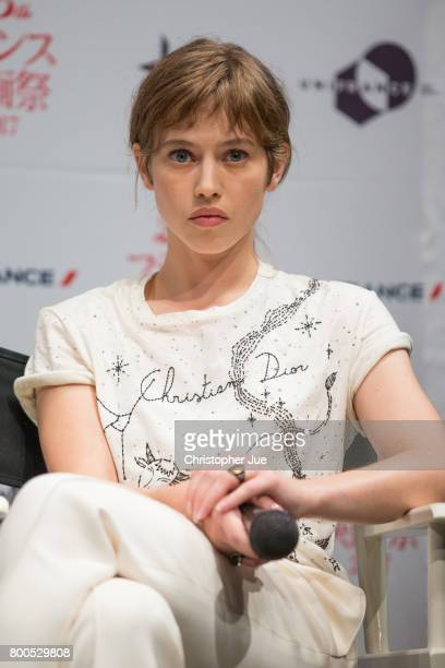 French actress Lou de Laage attends the talk session for 'Les Innocentes' during the 25th French Film Festival In Japan on June 24 2017 in Tokyo Japan