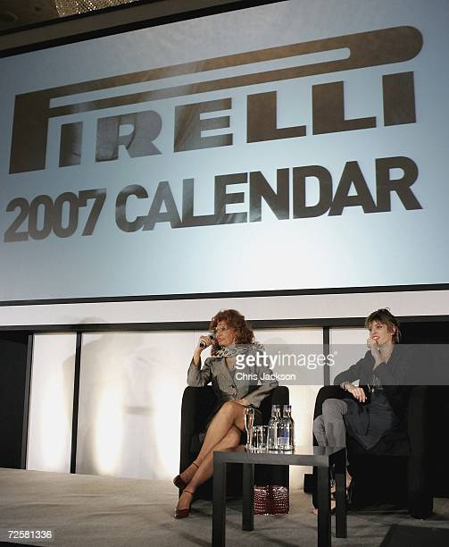 French actress Lou Doillon and Sophia Loren take part in a press conference at the launch for the 2007 Pirelli calendar at the Hilton Hotel on...