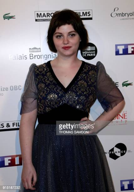 French actress Lou RoyLecollinet poses as she arrives to attend the 25emes Trophees du Film Français awards ceremony at The Palais Brongniart in...