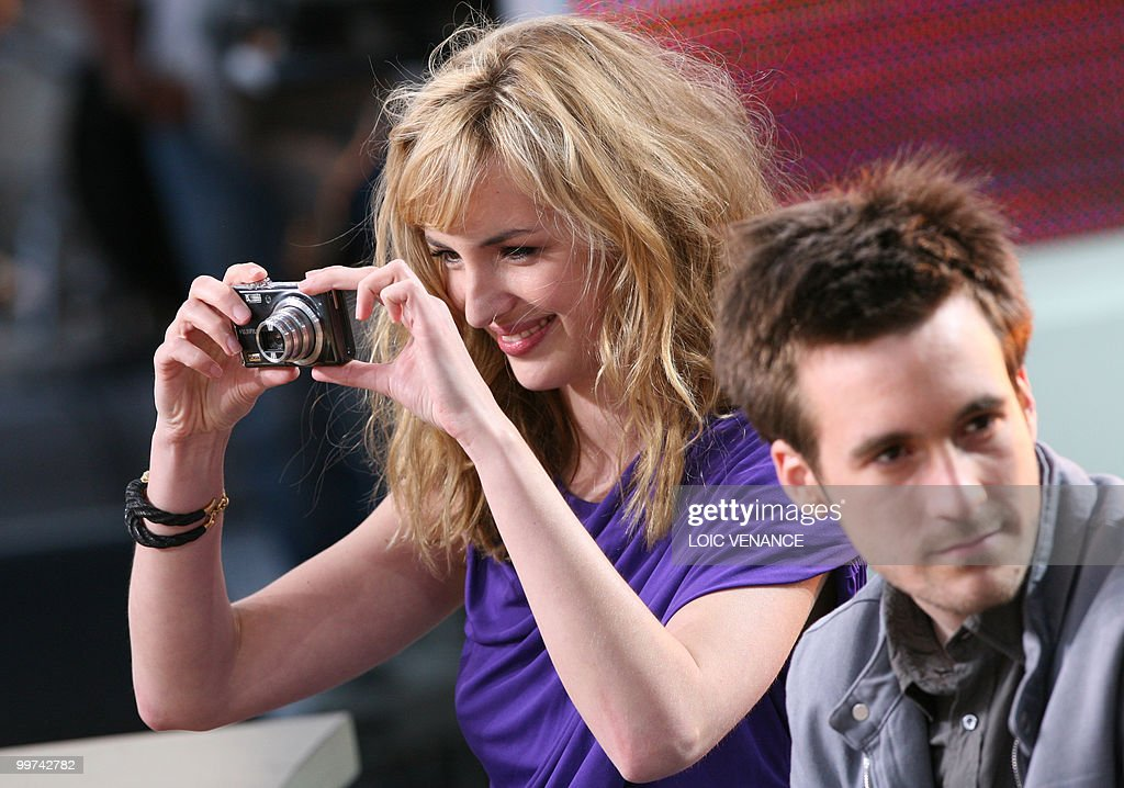 French actress Louise Bourgoin and French actor Gregoire Leprince-Ringuet attend the Canal+ TV show 'Le Grand Journal' at the 63rd Cannes Film Festival on May 17, 2010 in Cannes.