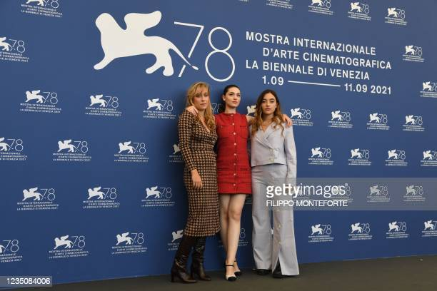 French actress Louise Orry-Diquero, French Romanian actress Anamaria Vartolomei and French actress Luana Bajrami attend a photocall for the film...